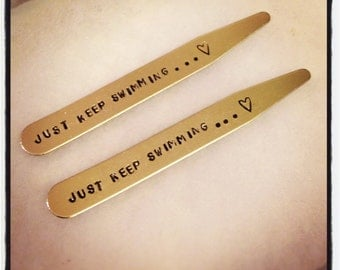 JUST KEEP SWIMMING Collar Stays - Inspired by Finding Nemo's Dory - Men's Inspiration Gift - Get Well Soon