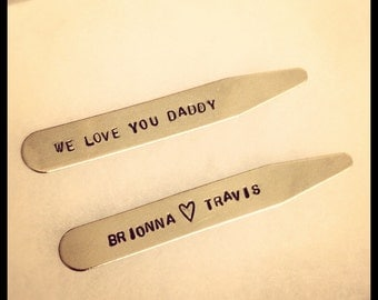"FATHER'S DAY GIFT - Personalized Collar Stays ""We Love You Daddy"" - Birthday Gift for Dad or New Dads to Be - Dad's Valentine from Kids"