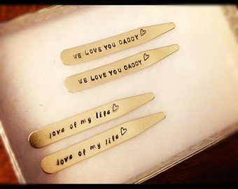 Gift for Dad - Collar Stays - We Love You Daddy - Father's Day Gift - Gift from Kids