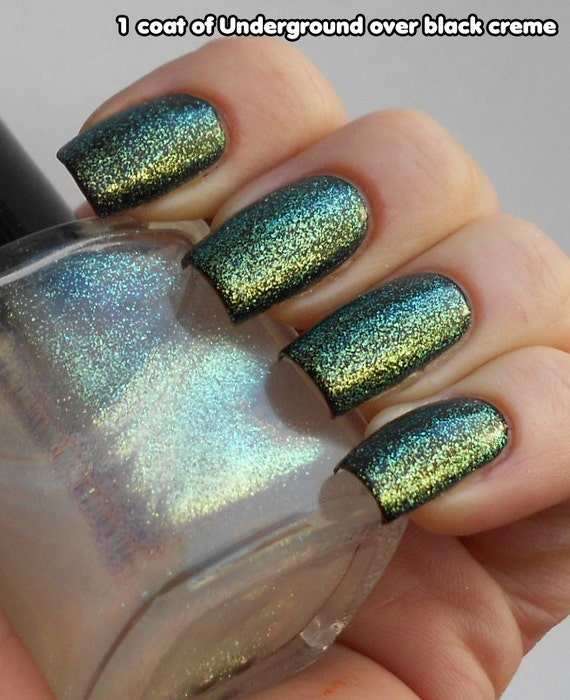 Underground - color shifting glitter nail polish top coat