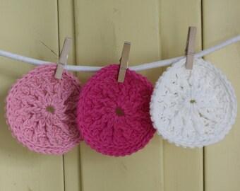 Think Pink - 100% Cotton Bath Scrubbies - Set of 3