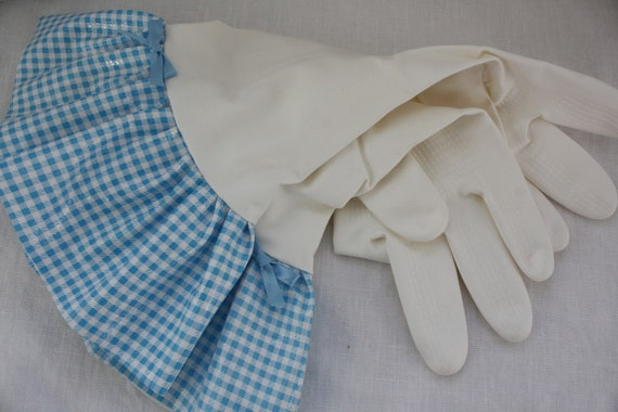 Plain Jane Blue Mini Gingham Oilcloth Gloves - Latex Free - Not Just for Cleaning (Size Med)