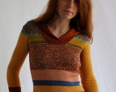 AMAZING Space Dye 70s Sweater Mixed Colors Patterns