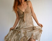 Designer Champagne LACE Satin Dreamy Fairieality Dress Made in Italy