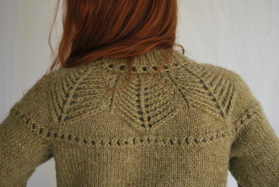 Hand Knit Sage Green Wool Sweater Leaves Nature Hippie