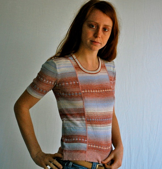 70s SPACE DYE Knit Top Oh So Sweet Pastels