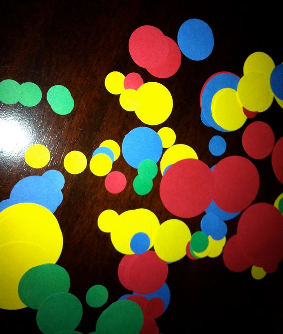 Primary Color confetti - blue, yellow, green - Great for Sesame street/clubhouse party/rainbow party