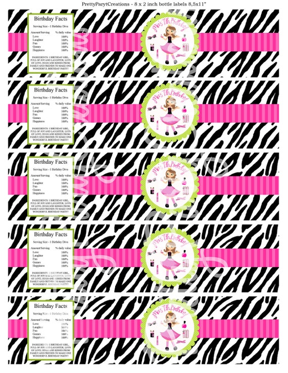 FASHONISTA water labels - YOU PRINT - 2 to choose - blonde or brunette