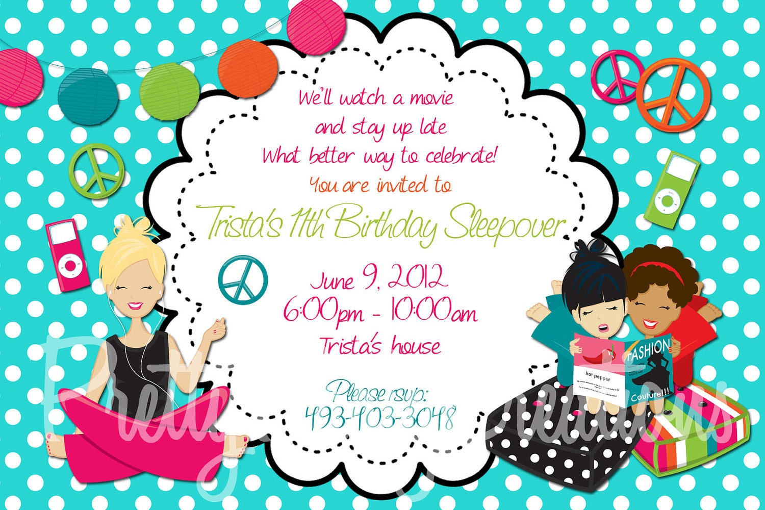 TWEEN sleepover party invite YOU PRINT 5 by PrettyPartyCreations