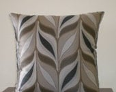 Cushion cover great leaf pattern in blacks, browns and grey size 45cm x 45cm