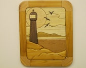 Light House, Seaboard, intarsia  carved by RAKOWOODS, soft wood tones,  wall decor for any den, nice cabin decor, seascapes, rustic decor