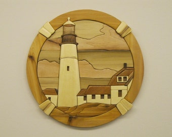 Light House, Portland Head,intarsia hand carved by RAKOWOODS,  wall decor for any den, nice cabin decor, seascapes, rustic decor  birthdays