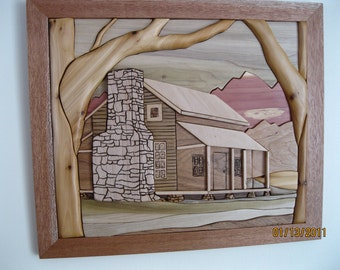Cabin on Rocky Top, Intarsia hand wood carved by Rakowoods, gifts for home, birthdays,Christmas,cabin life,wall decor & anniversaries