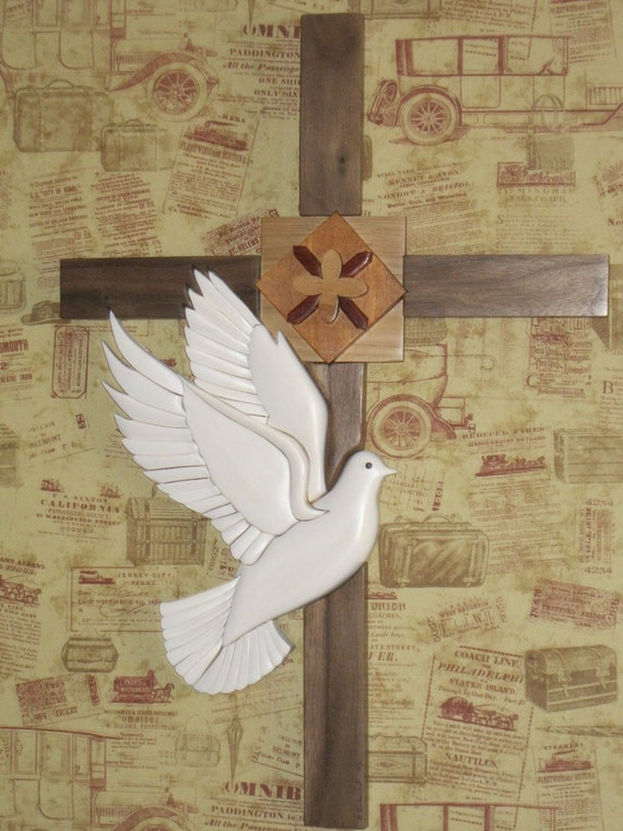 Cross with Dove, carved Intarsia gift by Rakowoods, memorial gift, Easter gift, childs room wall decorbirthday or special occasions gift,