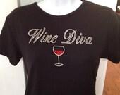 "Ladies' TShirt ""Wine Diva"" in crystal Rhinestones with Rhinestone wine glass"