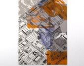 Abstract Rural / Urban landscape Screen Print Orange, Purple, Gray ink on Gray Paper