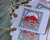 Handmade Red Apples in a Basket Gift Tags  - Part of the Farm Collection - Scrapbooking Christmas Gifts Childrens Birthday