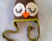 Sleepy Owl brown/green NB earflap hat, custom colors and sizes available, free shipping