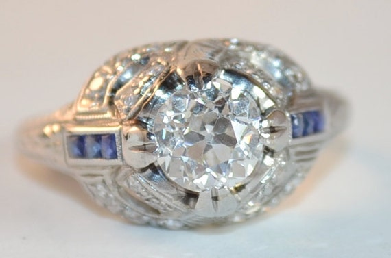 Art Deco Platinum Engagement Ring with Diamonds and Sapphires. Extraordinary!