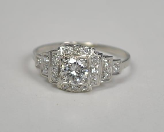 Art Deco Platinum ring with a .46 carat diamond