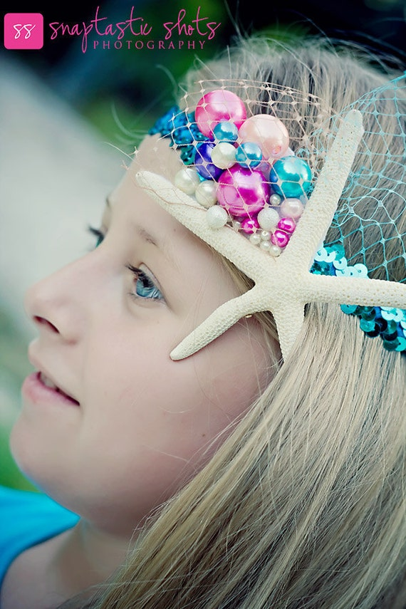 Star Fish Girls HeadBand with Colorful Pearl Embellishments