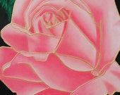 Pink Gold Rose Texture Tiffany Flower Deco Art Original Painting