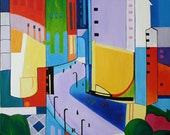 """30""""x40"""" """"DOWNTOWN """" Abstract Cityscape Oil Painting"""