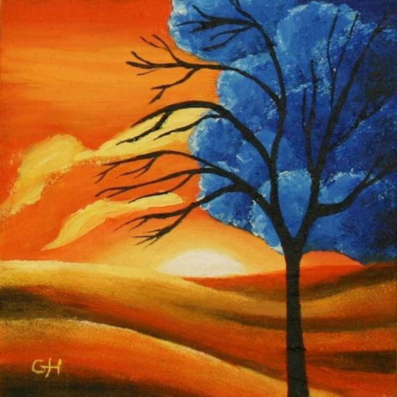 Art culos similares a aceite a bordo del hermoso paisaje - Paisaje con colores calidos ...