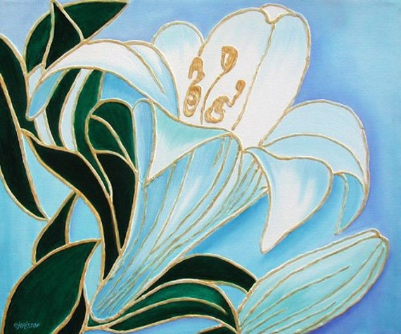 "24""x20"" Lily Tiffany Flower Deco Art Oil Original Painting"
