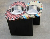 Two Hearts Diner, large elevated dog feeder, mosaic bowl holder