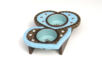 Elevated Dog Feeder, Medium Two Hearts Diner, Raised Dog Bowls, Cat Feeder, Couture Pet Station, Moasic Pet Home Decor