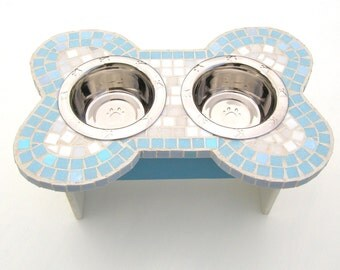 Mosaic Dog Feeder, medium to ex-large dog feeder, elevated dog bowls
