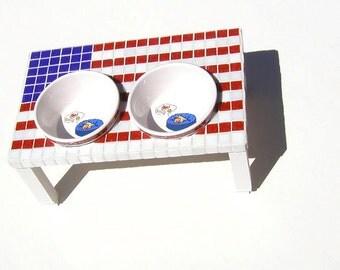 Patriotic Mosaic Flag Diner, elevated dog bowls, patriotic dog feeder, raised dog bowls