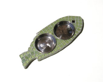 Elevated Cat Diner, elevated dog bowls, raised cat bowls, fish shaped feeder, cat feeder