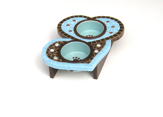 Two Hearts in Love, Elevated Dog Bowls, Medium Dog Bowl, Cat Feeder, Couture Pet Station