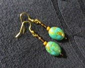 Beautiful Mosaic Turquoise earrings with Czech glass beads