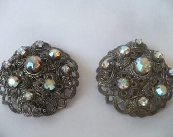 Vintage Dress Pins Brooch Pair Aurora Borealis