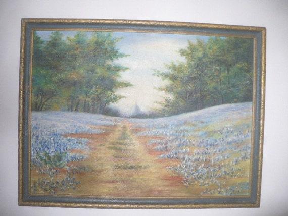 Vintage Oil Painting Texas Bluebonnets Austin