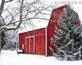 Red Barn in Winter Photograph Home Decor Wall Art - 8x12 fine art print