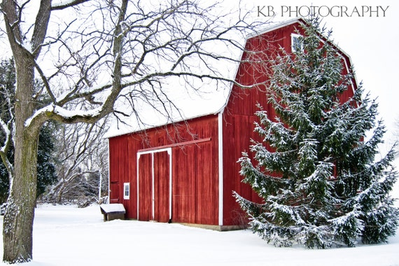 Red Barn in Winter Photograph Home Decor Wall Art - 8x12 fine art print