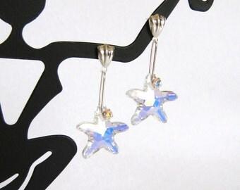 Aurora Borealis Swarovski Crystal Starfish Earrings