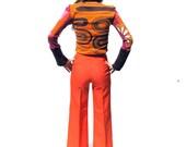 Vintage 1970s Orange Polyester Bell Bottom Pants