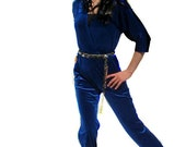 Vintage 1970s Disco Cobalt Blue Velor Jumpsuit