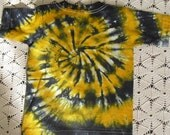 CLEARANCE SALE  Tie dye 3 Toddler shirt spiraled in gold, banana yellow and black  DISCOUNTED, 375