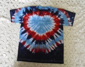 "I ""heart"" the USA- Tie dye Youth Large shirt Patriotic July 4"