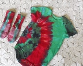 SALE!!  Tiedye 6-9 month bodysuit and matching socks - CHRISTMAS SPIRAL by Bri's Tie Dyes