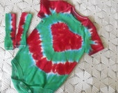 """SALE!!!   Tie dye 18 month bodysuit and matching socks - I """"HEART"""" you... and Christmas!  Christmas discount!!!"""