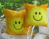 """Tie dye accent designer pillow cover - Smiley Face decorative throw pillow cover """"You are my Sunshine"""", 450"""
