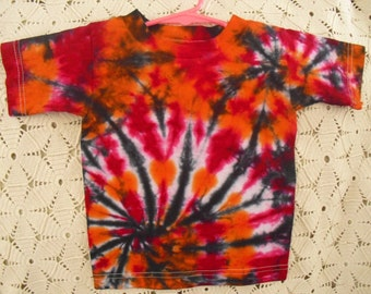 SALE!!  Tie dye  2 Toddler shirt Double Spiral of fuchsia and orange, then swirled in black   CLEARANCE!!