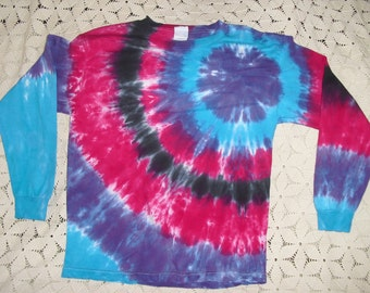 Tie dye shirt-  Youth Large long sleeve- Bullseye in purple, fuchsia, turquoise, and black